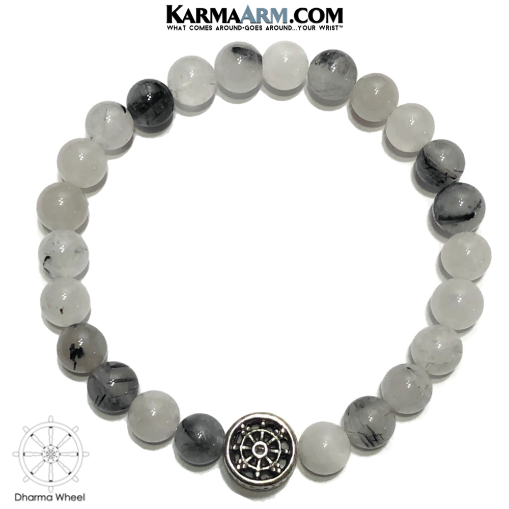 Dharma Wheel Meditation Mantra Yoga Bracelet. Self-Care Wellness Wristband Tourmaline Quartz.