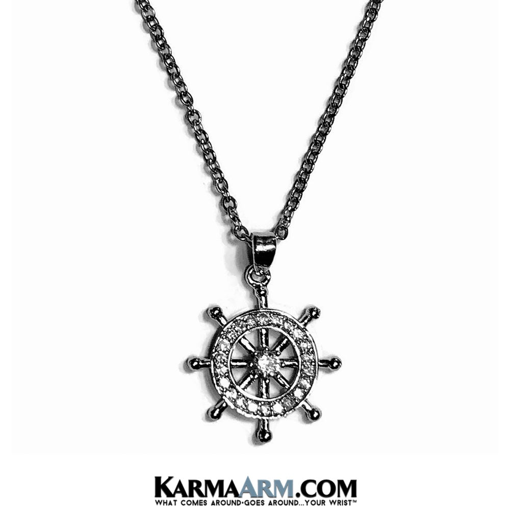 Dharma Wheel Necklace. Reiki Healing Meditation Jewelry.