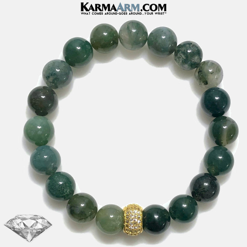 Diamond Green Moss Agate Meditation Mantra Self-Care Wellness Yoga Bracelets. Mens Wristband Jewelry.