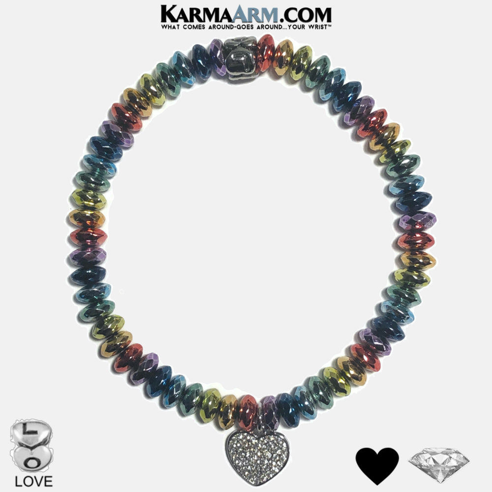 CLEAR YOUR PATH | 7 Chakra Custom Electroplated Rainbow Hematite | LOVE Bead Bracelet