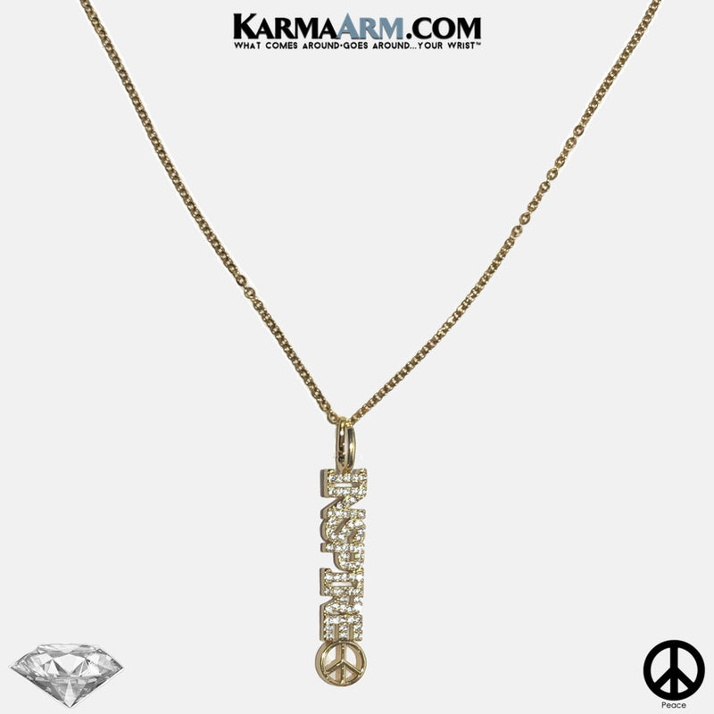 Necklace | INSPIRE | Peace Sign | CZ Diamond | Gold Stainless Steel Chain