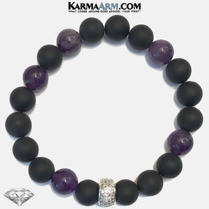 Diamond Meditation Mantra Yoga Bracelets. Mens Wristband Jewelry. Amethyst. Onyx.