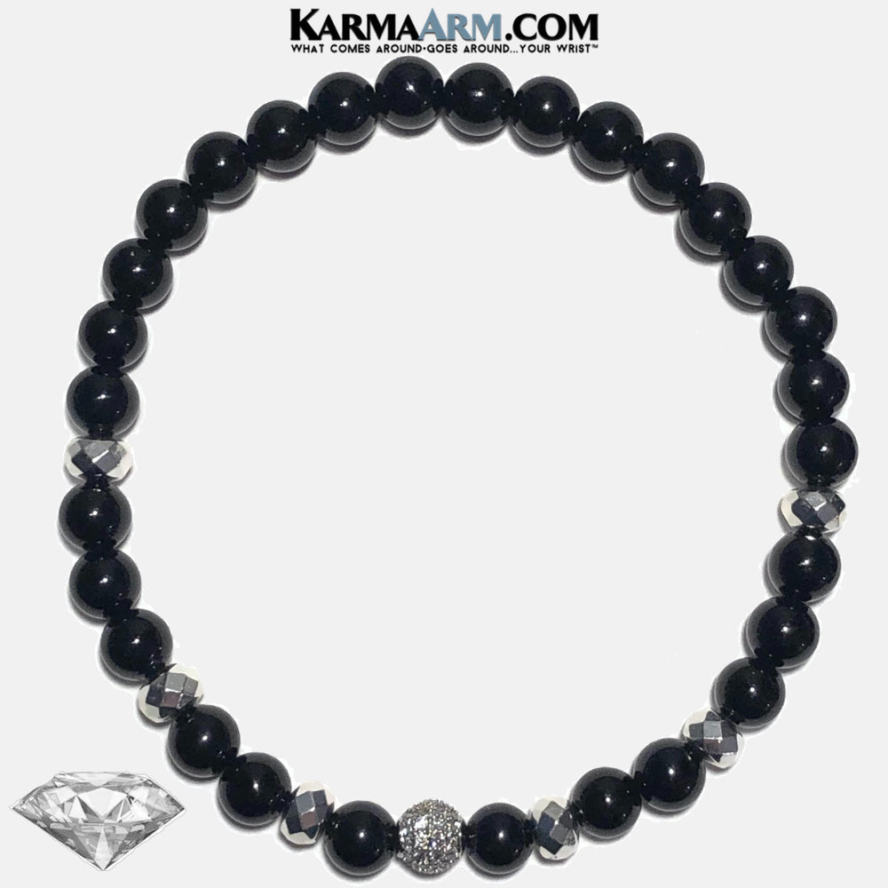 Diamond Meditation Yoga Bracelet. Mens Self-Care Wellness Wristband Jewelry. Black Onyx.