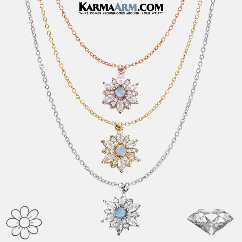 Diamond Opal Flower Mindfulness Meditation Self Care Wellness NECKLACE. copy 2