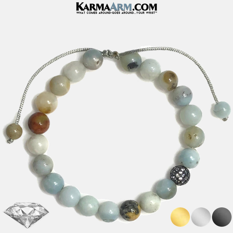 Diamond Meditation Mantra Yoga Bracelets. Mens Wristband Jewelry. Amazonite.