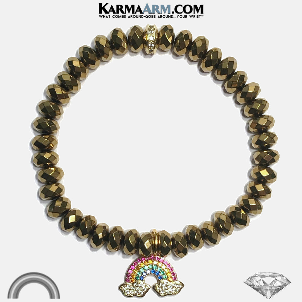 END OF THE STORM | Faceted Gold Hematite | CZ Diamond Pave Rainbow Charm Bracelet