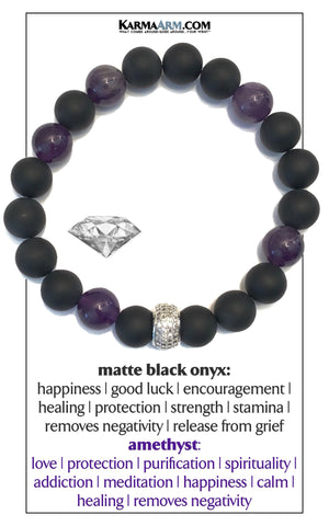 Diamond Wellness Self-Care Meditation Mantra Yoga Bracelets. Mens Wristband Jewelry. Amethyst Onyx.