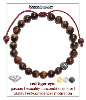 Diamond Ball Meditation Mantra Yoga Bracelets. Mens Wristband Jewelry. Red Tiger Eye.