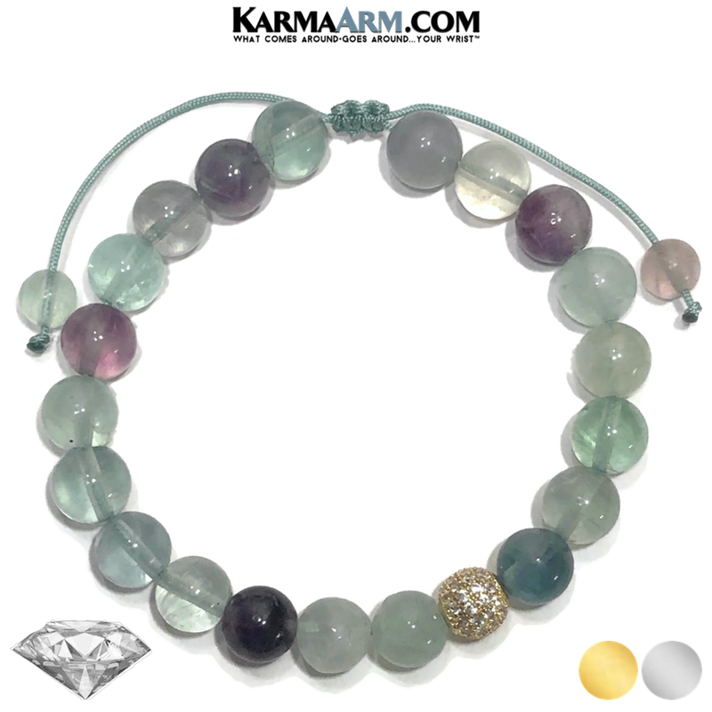 Diamond Ball Meditation Self-Care Wellness Yoga Bracelets. Mens Wristband Jewelry. rainbow fluorite.