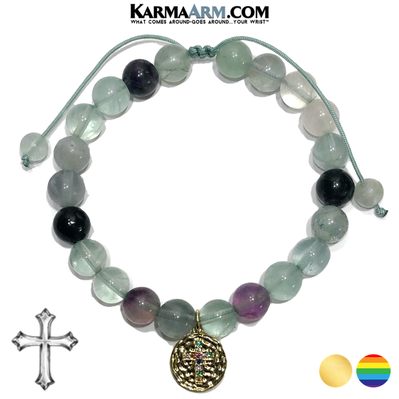 Diamond Cross Meditation Self-Care Wellness Yoga Bracelets. Mens Wristband Jewelry. rainbow fluorite.