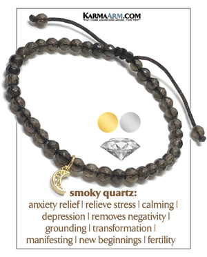 Diamond Eclipse Moon Yoga Bracelet . Mindfulness Meditation Mens Self-Care Wellness Wristband Bead Jewelry. Smoky Quartz. copy