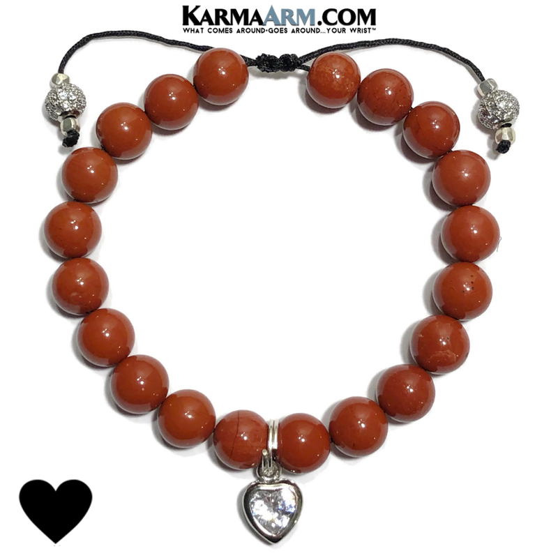 Diamond Heart Charm Yoga Bracelets. Meditation Mindfulness  Self-Care Wellness Wristband Jewelry. Red Jasper.