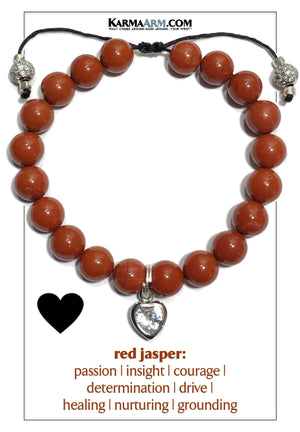 Diamond Heart Charm Yoga Bracelets. Meditation Mindfulness  Wellness Self-Care Wristband Jewelry. Red Jasper.