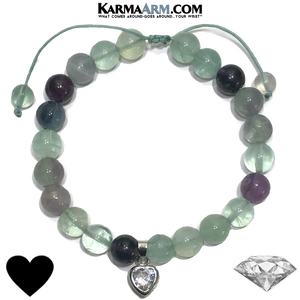 Diamond Heart Meditation Wellness Self-Care Yoga Bracelets. Mens Wristband Jewelry. rainbow fluorite.