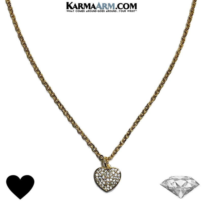 NECKLACE | CZ Diamond Pave HEART | Gold Stainless Steel Chain Necklace