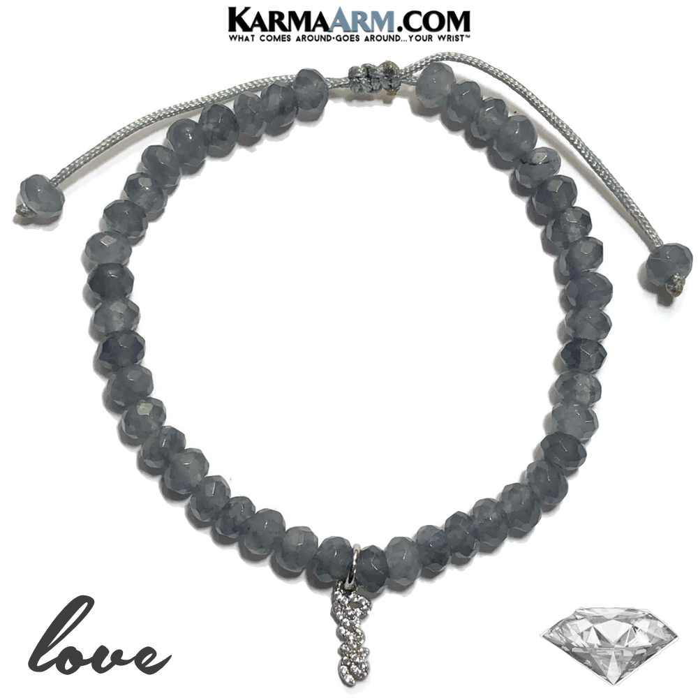 Diamond Love Charm Meditation Mantra Yoga Bracelets. Self-Care Wellness Wristband Jewelry. Grey Agate.