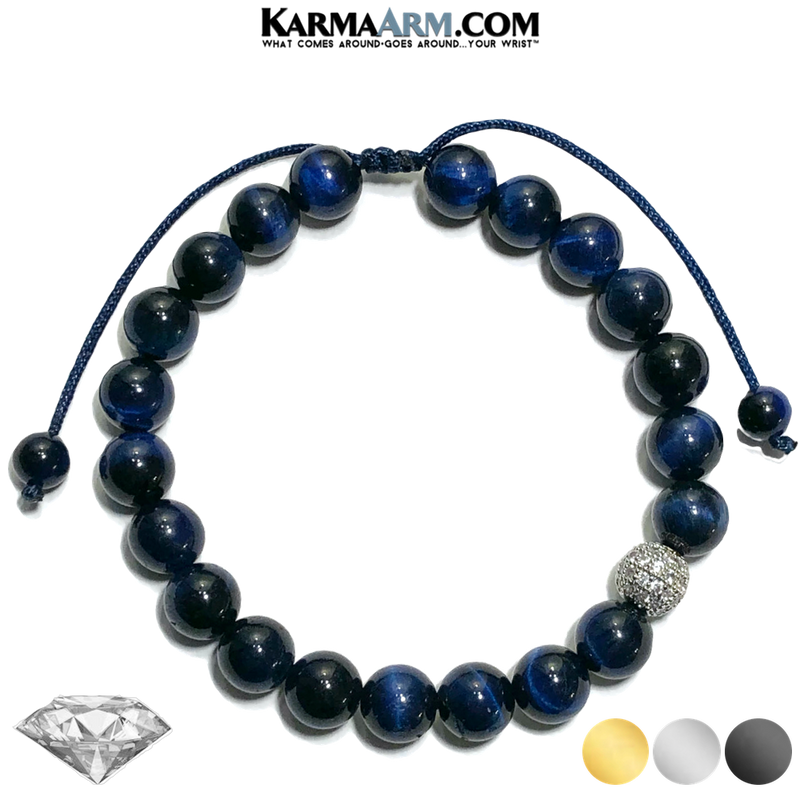 Diamond Meditation Mantra Mindfulness Self-care Yoga Bracelets. Mens Wellness Wristband Jewelry. Blue Tiger Eye.