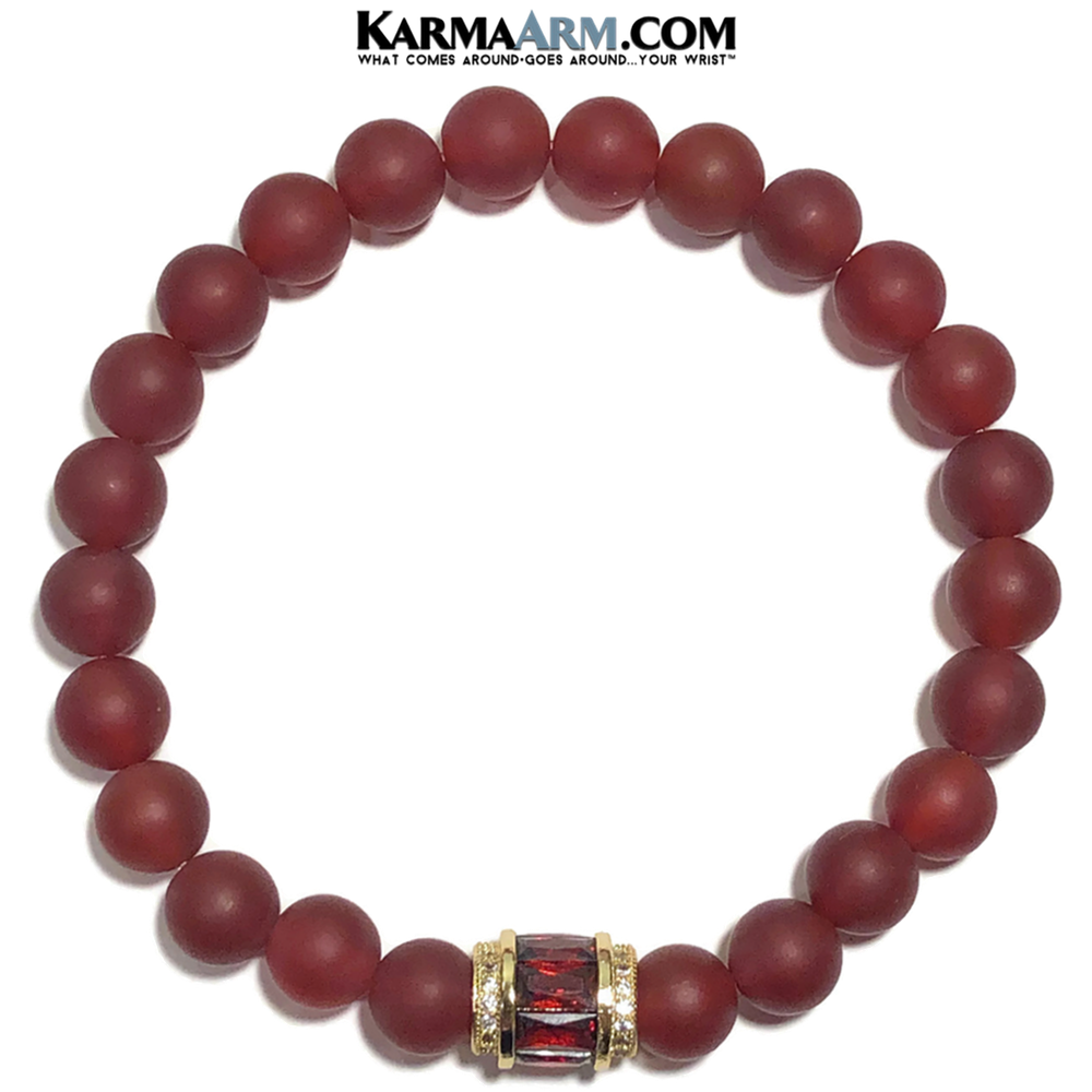 Diamond Meditation Mantra Yoga Bracelet. Self-Care Wellness Wristband Jewelry. Red Agate.