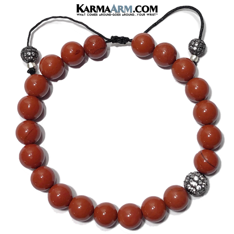Diamond Meditation Mindfulness Yoga Bracelet. Self-Care Wellness Wristband Jewelry. Red Jasper.
