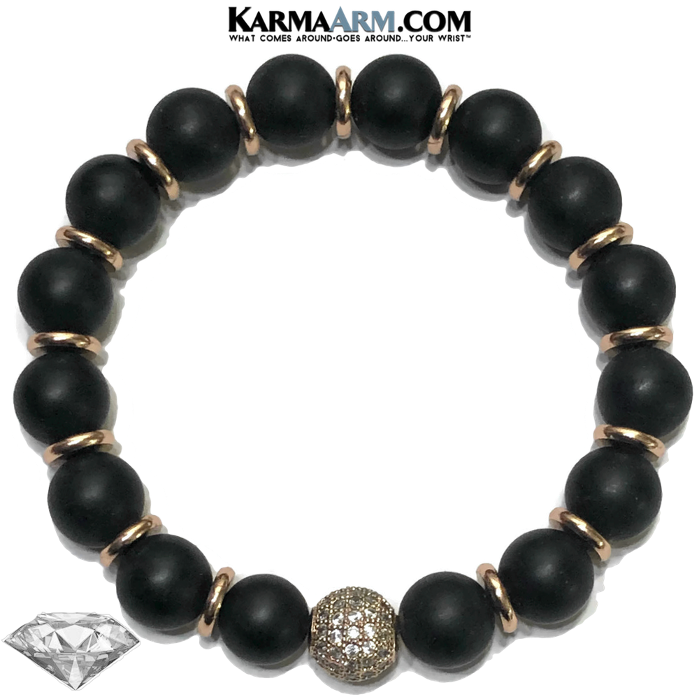 Diamond Meditation Wellness Self-Care  Yoga Bracelets. Mens Wristband Jewelry. Black Onyx.