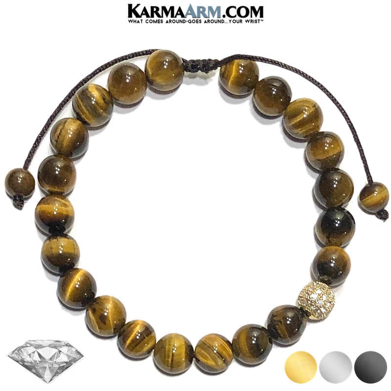 Diamond Meditation Self-care wellness Mantra Yoga Bracelets. Mens Wristband Jewelry. Tiger Eye.
