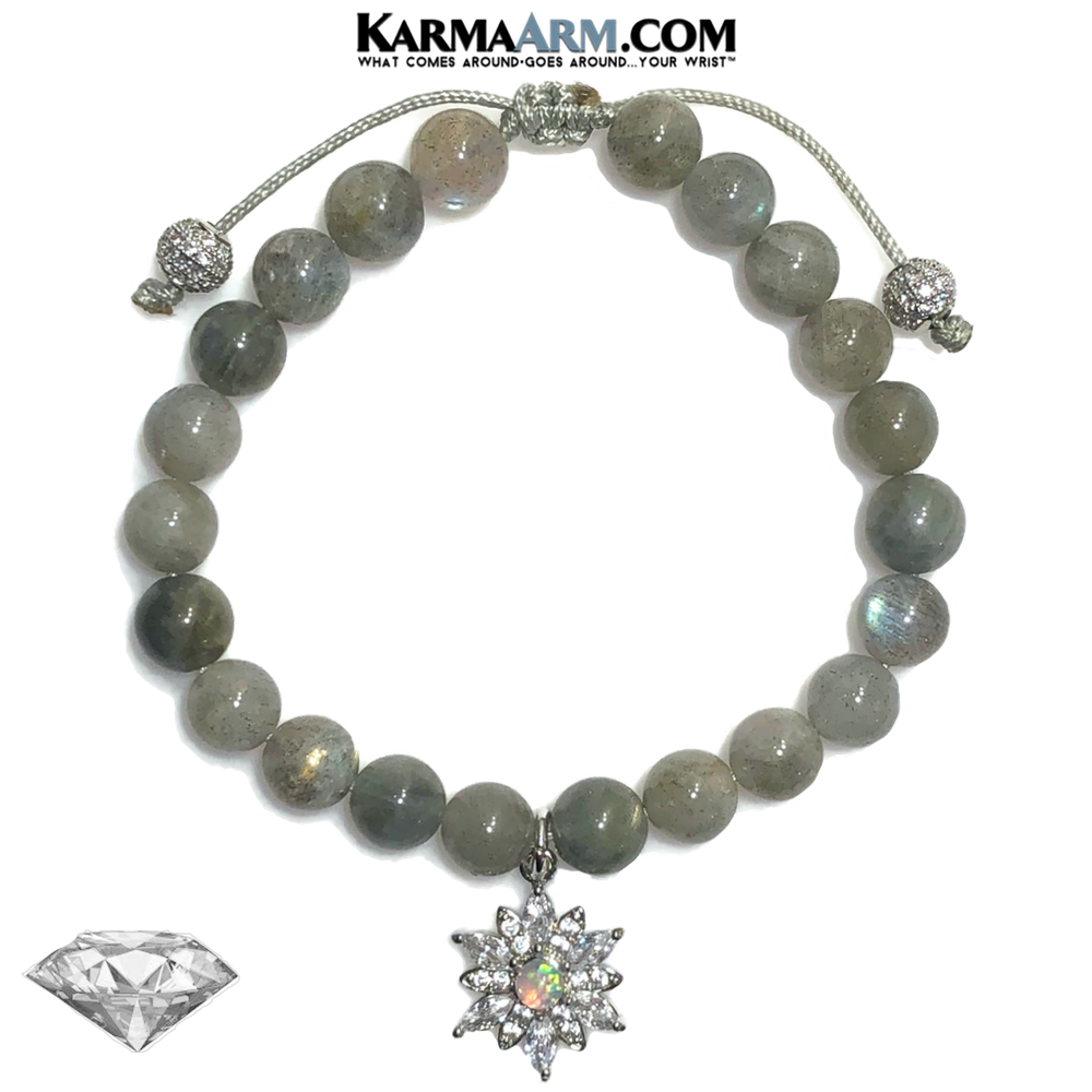 LET YOUR LIGHT SHINE | Labradorite | CZ Diamond | Opal Floral Starburst Adjustable Macrame Pull Tie Bracelet