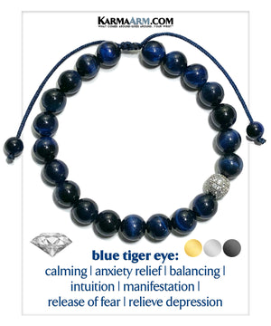Diamond Self-care Meditation Mantra Mindfulness Yoga Bracelets. Mens Wellness Wristband Jewelry. Blue Tiger Eye.