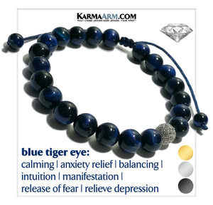 Diamond Meditation Mindfulness Self-care Yoga Bracelets. Mens Wellness Wristband Jewelry. Blue Tiger Eye.
