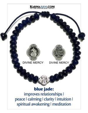 Divine Mercy Jesus Meditation Mantra Yoga Bracelets. Mens Wristband Jewelry. Blue Jade.