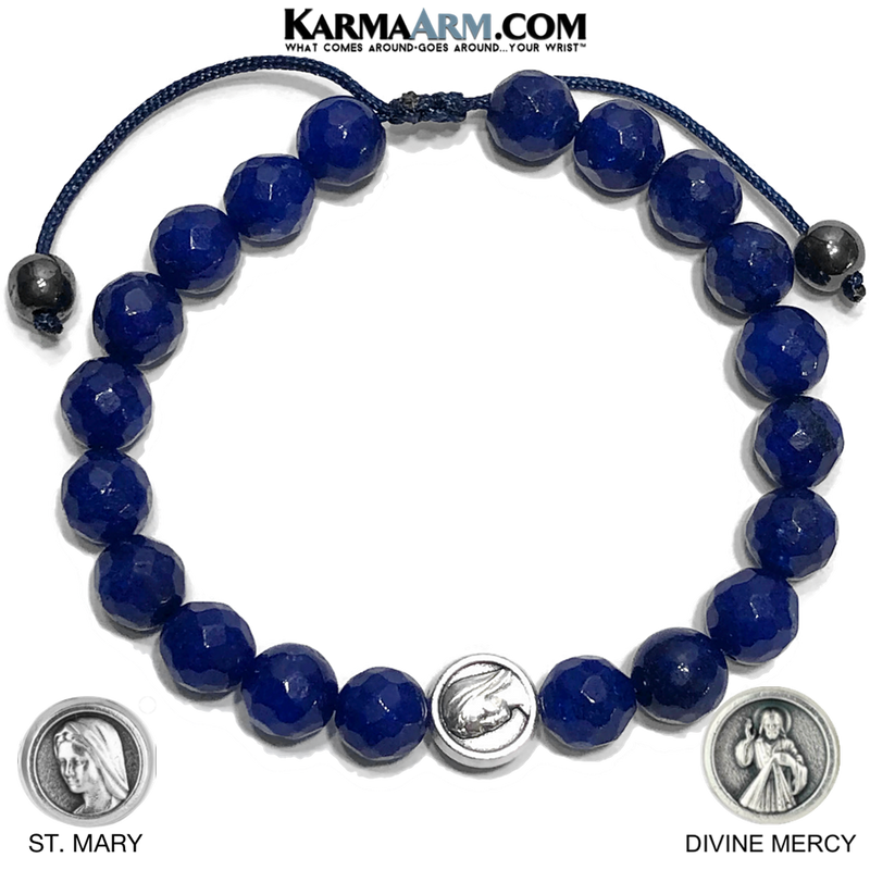 Divine Mercy St. Mary Meditation Self-Care Yoga Bracelet. Wellness Wristband Yoga Jewelry. Blue Jade.