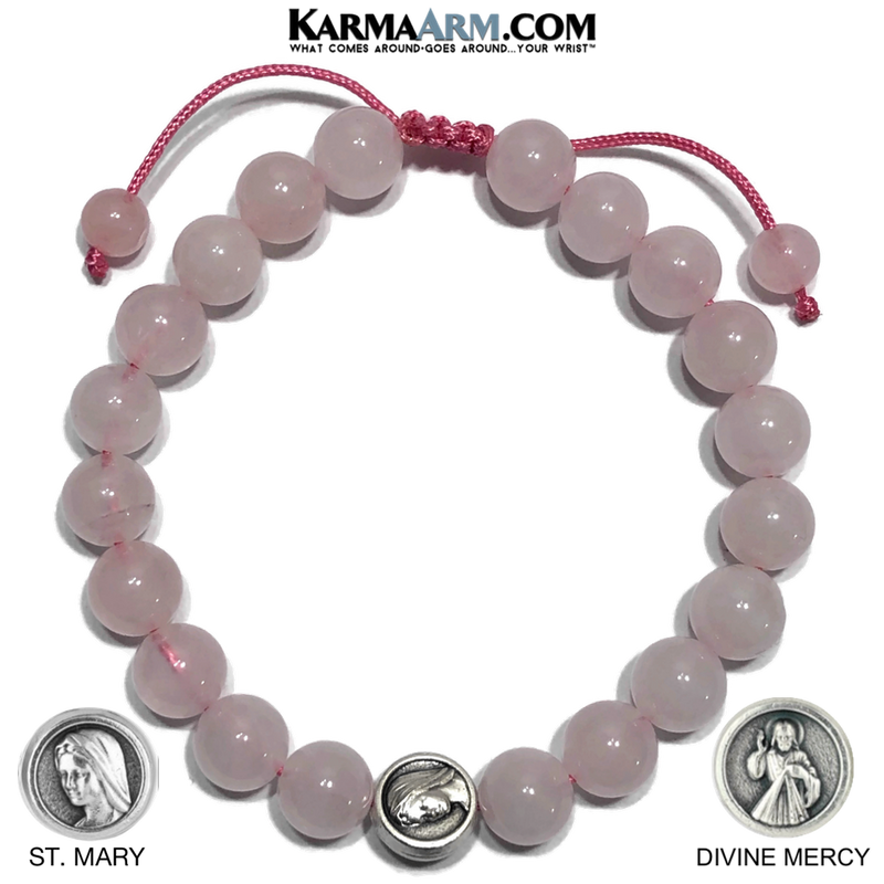Divine Mercy St. Mary Meditation Self-Care Yoga Bracelet. Wellness Wristband Yoga Jewelry. Rose Quartz.