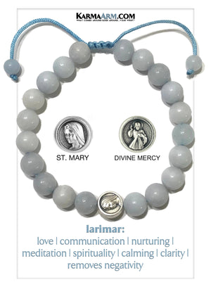 Divine Mercy St. Mary Self-Care Wellness Meditation Mantra Yoga Bracelets. Mens Wristband Jewelry. Larimar.