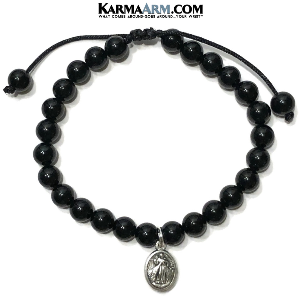 Divine Mercy Wellness Self-Care Meditation Yoga Bracelets. Mens Wristband Jewelry. Black Onyx.