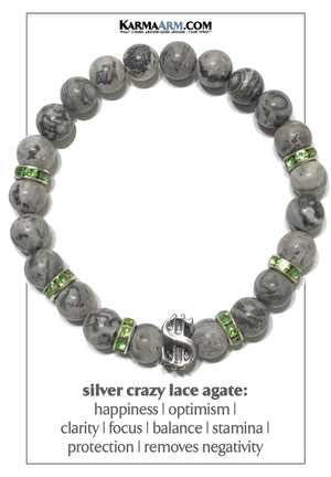 Dollar sign Meditation Self-Care Wellness Mantra Yoga Bracelet. Bead Wristband. Crazy Lace Agate.
