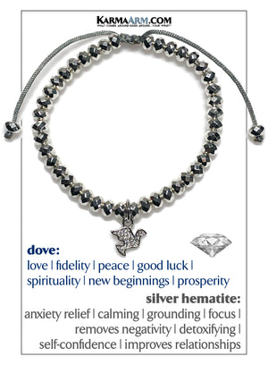 Dove Diamond Meditation Mantra Yoga Bracelets. Mens Wristband Jewelry. silver Hematite.