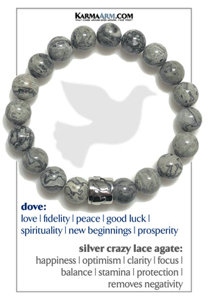 Dove Meditation Mantra Bead Yoga Bracelet. Self-Care Wellness Wristband. Crazy Lace Agate.
