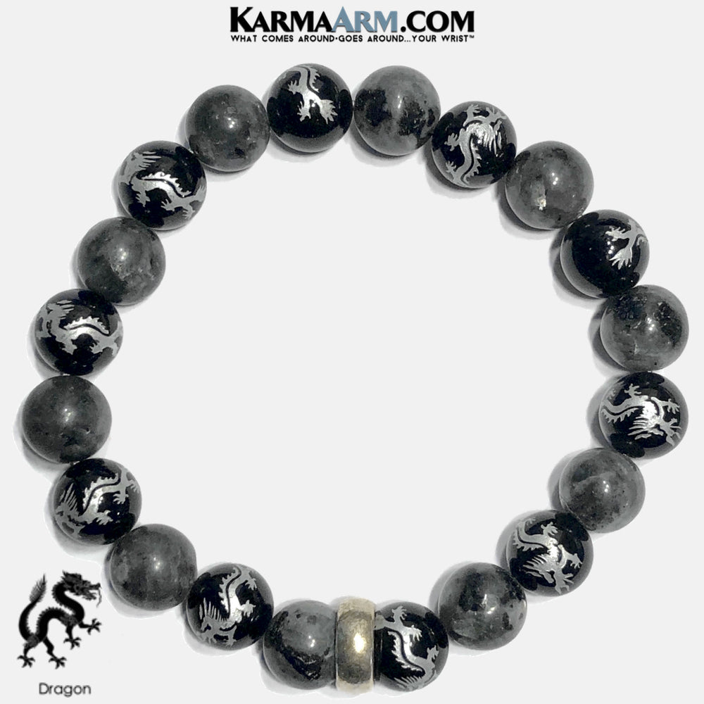 Dragon Meditation Mantra Self-Care Wellness Yoga Bracelets. Mens Wristband Jewelry. Black Labradorite. copy