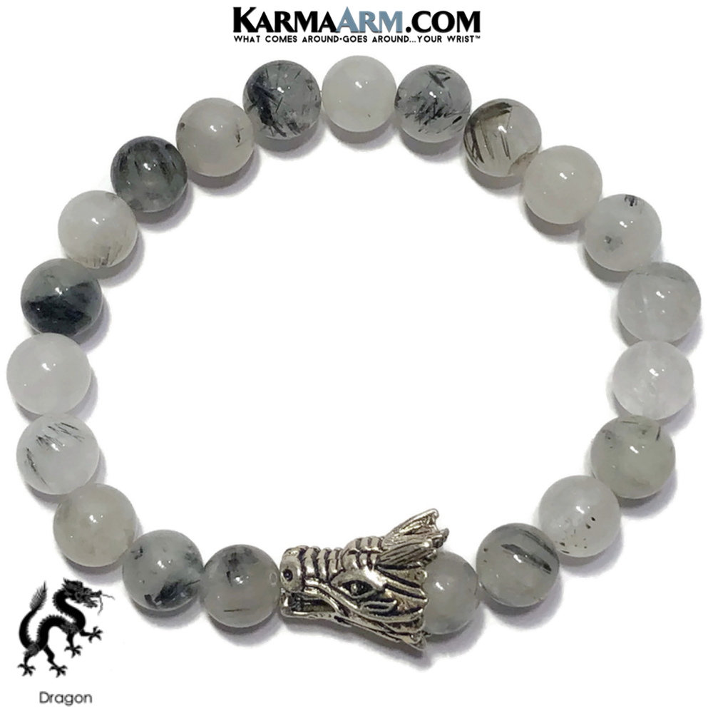Dragon Meditation Mantra Yoga Bracelets. Mens Wristband Jewelry.   Tourmaline Quartz.