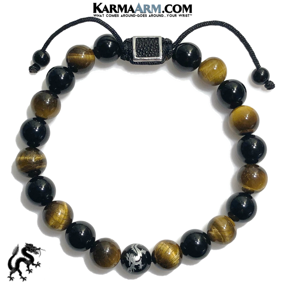 Dragon Meditation Wellness Yoga Bracelets. Mens Wristband Jewelry.  Tiger eye Black Onyx.