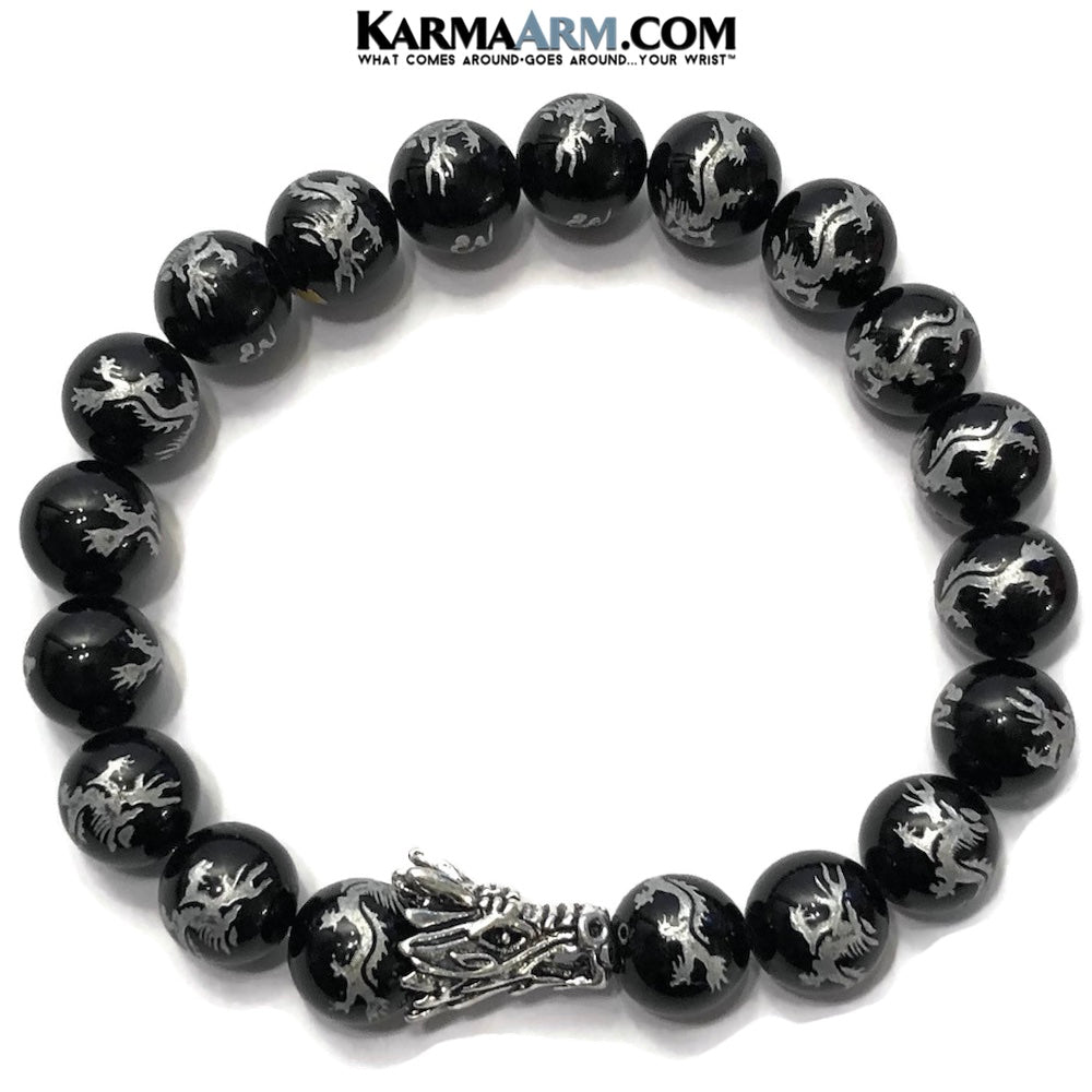 Dragon bead meditation bracelet. Silver Dragon Jewelry.