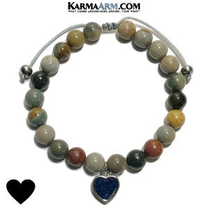 Druzy Quartz heart charm Wellness Self-Care Meditation Yoga Bracelets. Mens Wristband Jewelry. Ocean Jasper.