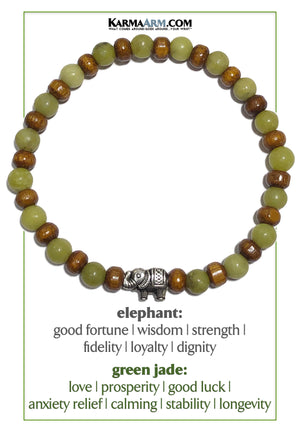 Elephant Meditation Mantra Yoga Bracelets. Self-Care Wellness Wristband Jewelry. Green Jade.     copy