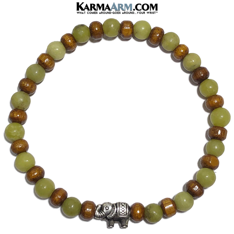 Elephant Meditation Mantra Yoga Bracelets. Self-Care Wellness Wristband Jewelry. Green Jade.