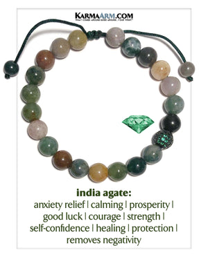 Green Emerald Diamond Meditation Self-Care Wellness Mantra Yoga Bracelets. Mens Wristband Jewelry. India Agate. Indian.