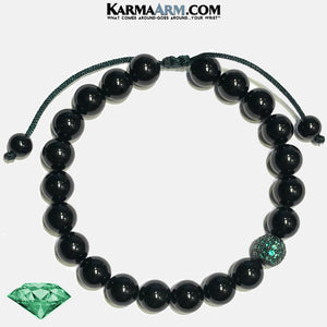 COLOR THERAPY COLLECTION | DESIRE | Emerald Green CZ Diamond | Black Onyx Pull Tie Bracelet