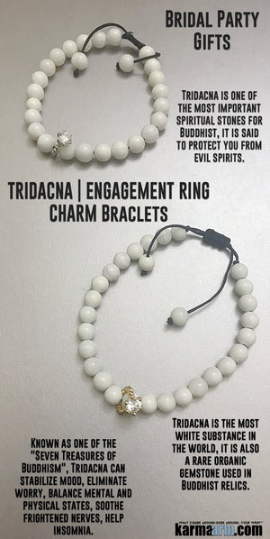 Engagement Ring Charms Bracelets. Bridal Party. Yoga Bracelet. Chakra Mantra Beaded Jewelry.