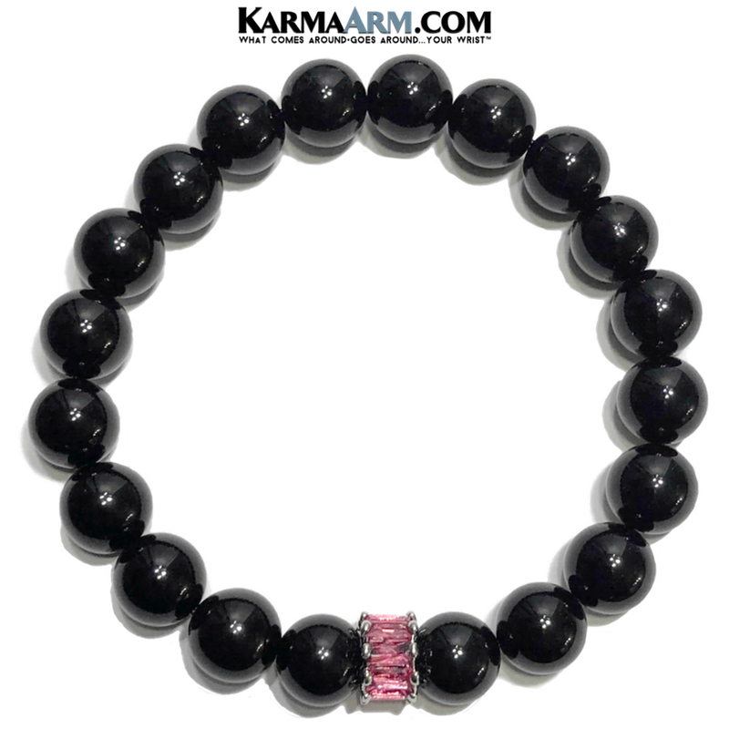 Diamond Meditation Wellness Self-Care  Yoga Bracelets. Mens Wristband Jewelry. Black Onyx. Pink CZ.