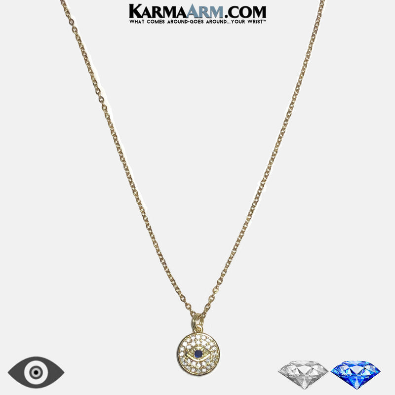 Evil Eye Diamond Necklace Ball Chain  Meditation Wellness Yoga Bracelets. Mens Wristband Jewelry.