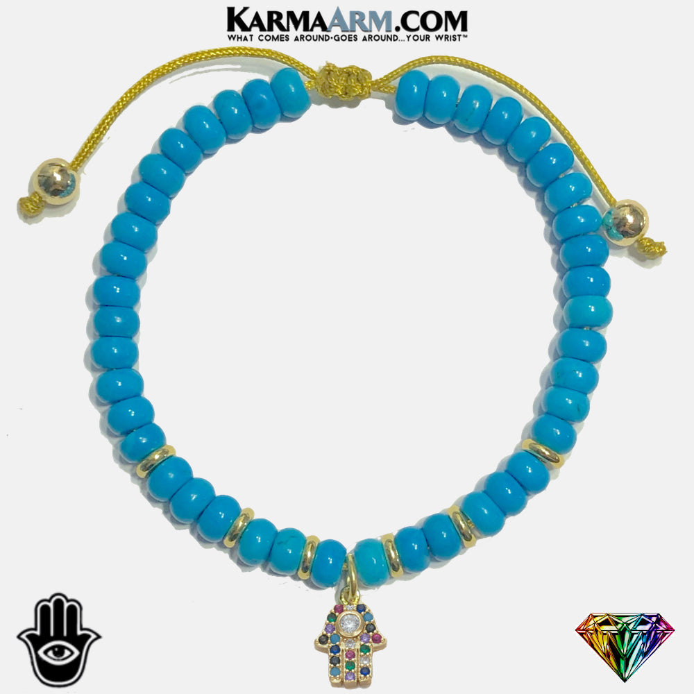 FORCES OF GOOD | Turquoise | Multi Color CZ Diamond | Hamsa Hand Pull-Tie Adjustable Bracelet
