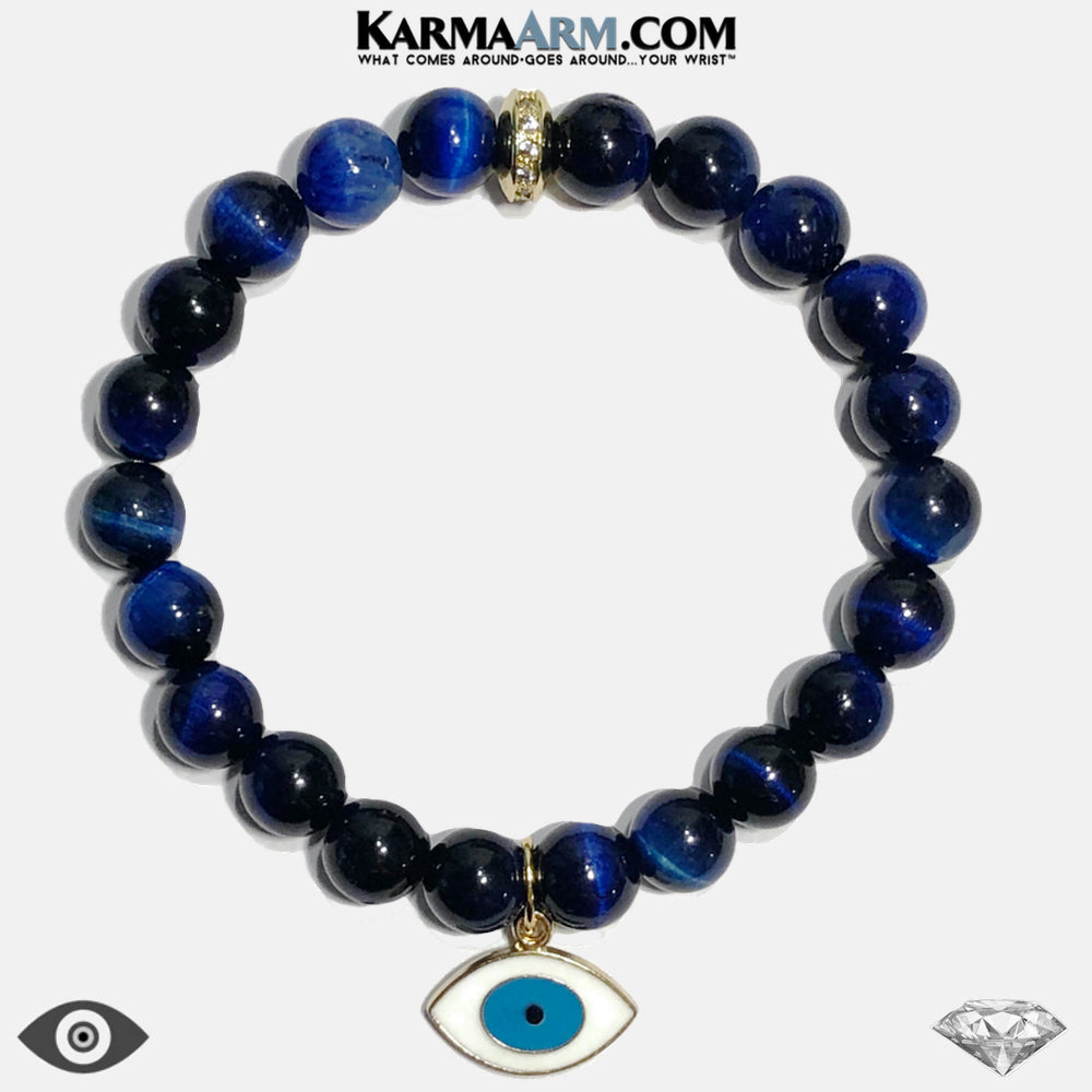 Evil Eye Meditation Mantra Mindfulness Self-care Yoga Bracelets. Mens Wellness Wristband Jewelry. Blue Tiger Eye. copy
